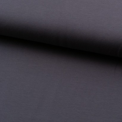Tela de punto camiseta lisa algodón gris lomo