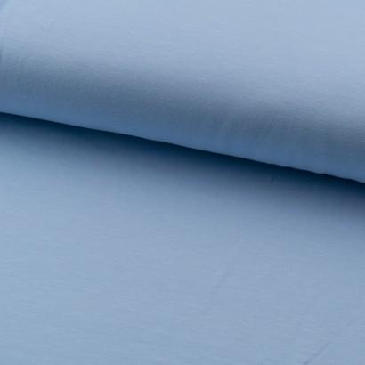 Tela de punto camiseta lisa algodón azul celeste lomo