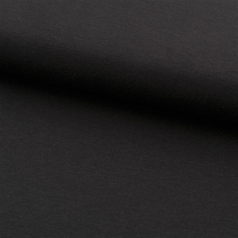 Tela de punto camiseta liso algodón negro lomo
