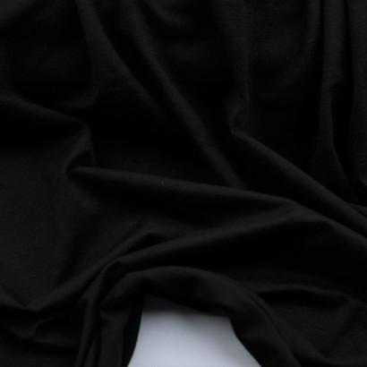 Tela de punto camiseta liso algodón negro  arrugada