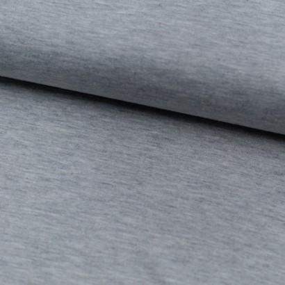 Tela de punto camiseta liso algodón gris perla lomo