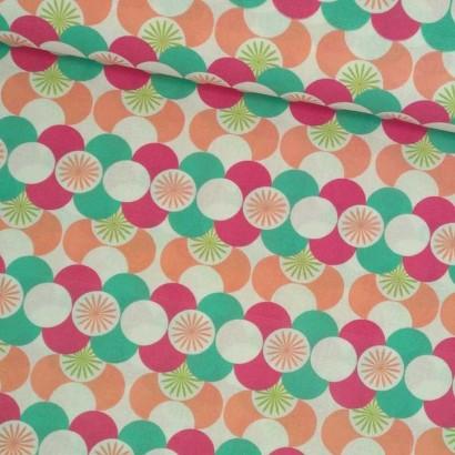 Tela de algodón círculos de colores tubo