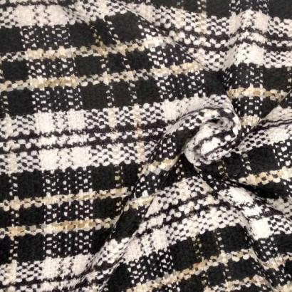 Tela de algodón de cuadros arrugada