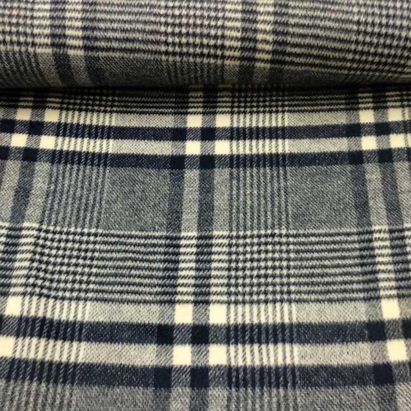 Tela de lana cuadros azules y blancos tubo
