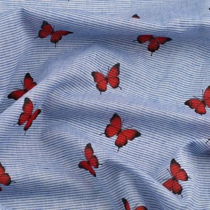 Tela de algodón rayas mariposas arrugada