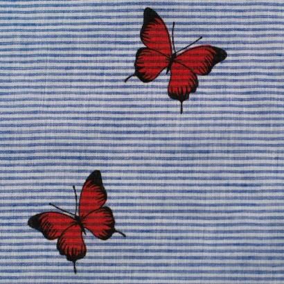 Tela de algodón rayas mariposas detalle