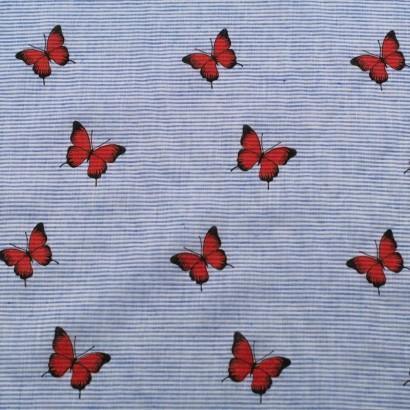 Tela de algodón rayas mariposas lisa