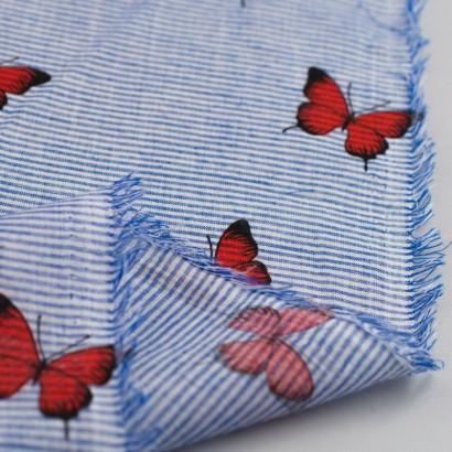 Tela de algodón rayas mariposas revés