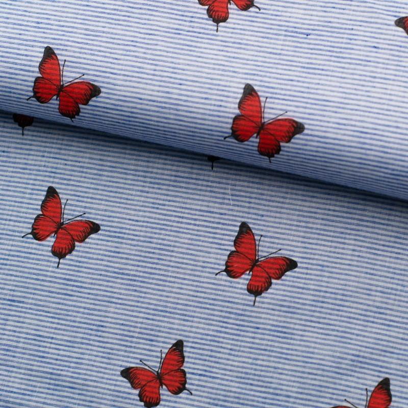 Tela de algodón rayas mariposas lomo