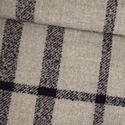 Tela de lana cuadro gris y azul tubo