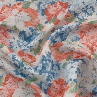 Tela de algodón flores hortensias arrugada