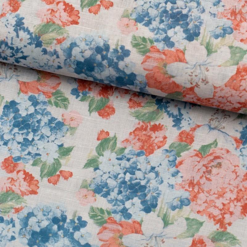 Tela de algodón flores hortensias lomo