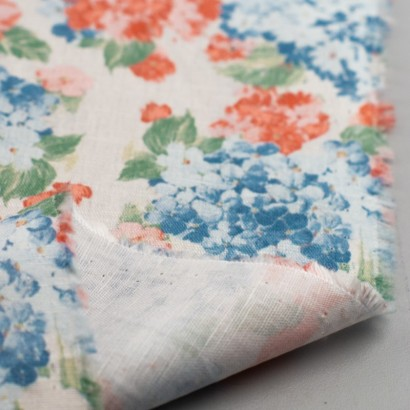 Tela de algodón flores hortensias revés