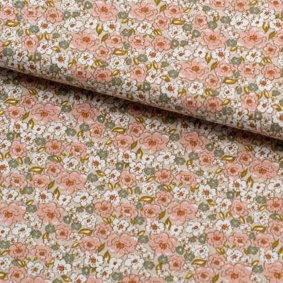 Tela de algodón flor rosas...