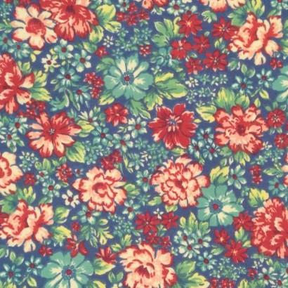 Tela de lycra azul flores de colores 1