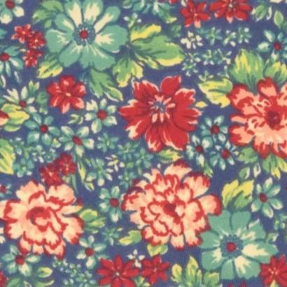 Tela de lycra azul flores de colores 2