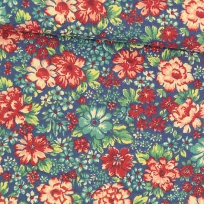 Tela de lycra azul flores de colores tubo