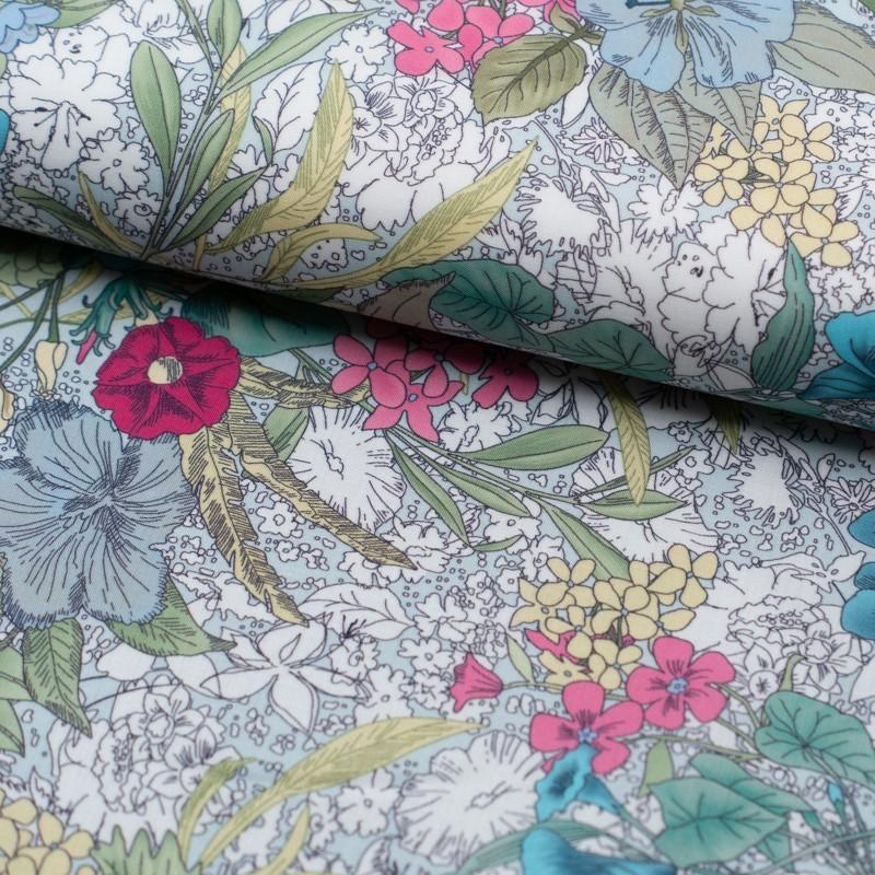 Tela de algodón flores tropicales lomo