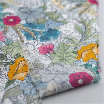 Tela de algodón flores tropicales revés