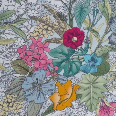 Tela de algodón flores tropicales lisa