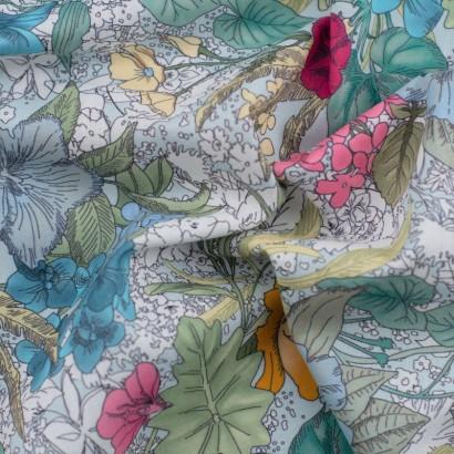 Tela de algodón flores tropicales arrugada