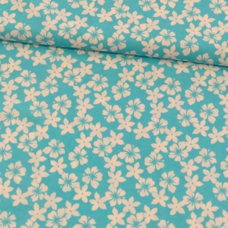 Tela de lycra turquesa flor blanca tubo