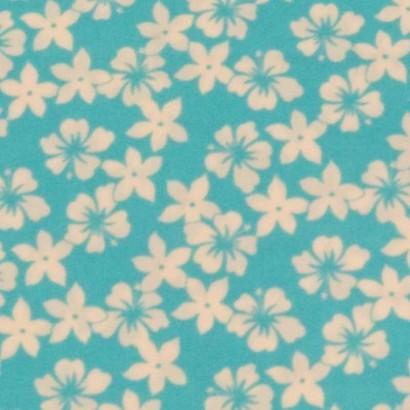 Tela de lycra turquesa flor blanca 2