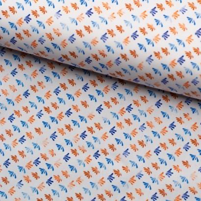 Tela de algodón hojas geométricas lomo