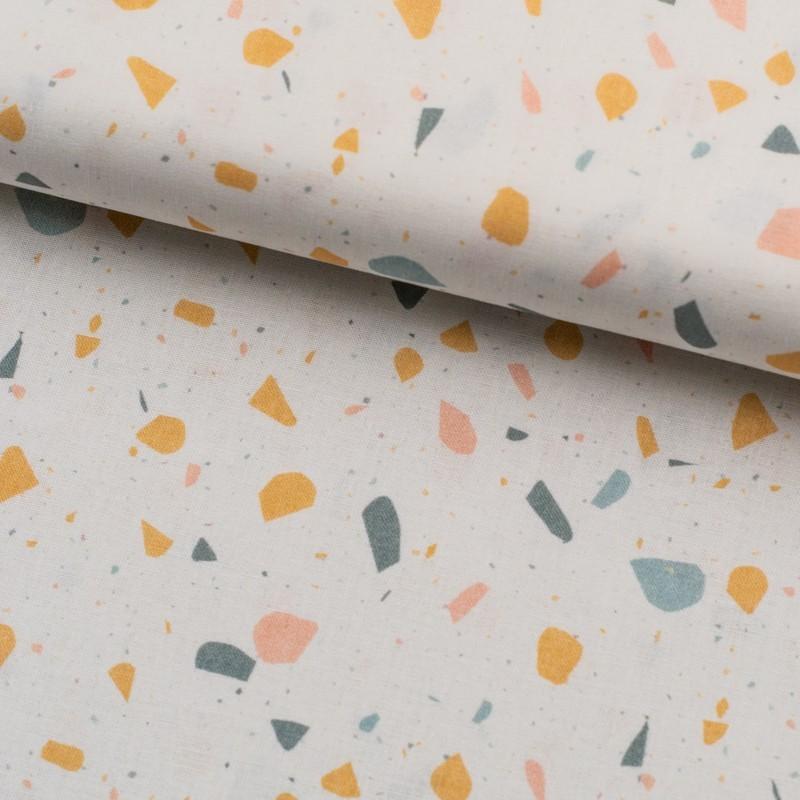 Tela de algodón piedras de colores lomo mostaza
