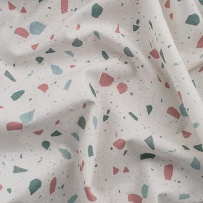 Tela de algodón piedras de colores verde menta arrugada