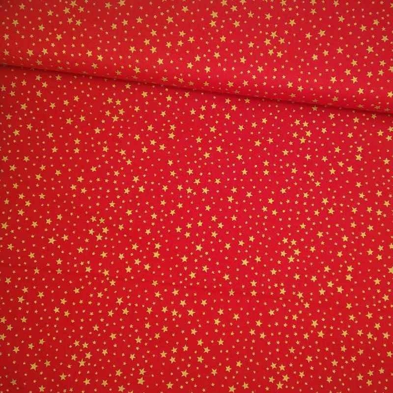Tela navideña roja con estrellas doradas tubo