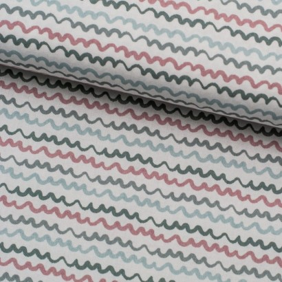Tela de algodón rayas onduladas lomo