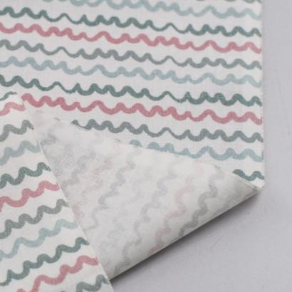 Tela de algodón rayas onduladas revés