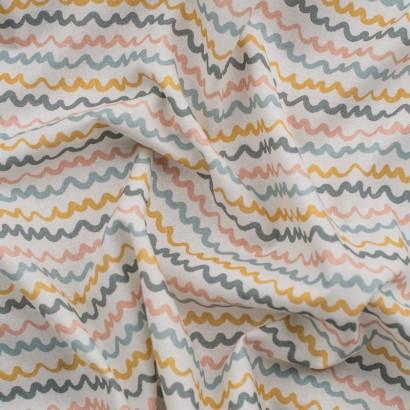 Tela de algodón rayas onduladas arrugada
