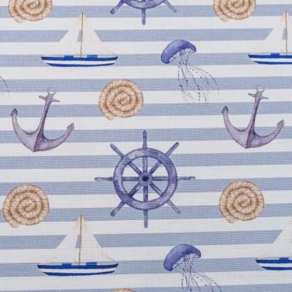Tela de algodón estampado marinero lisa