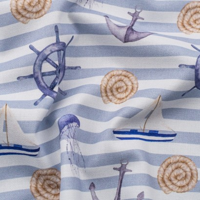 Tela de algodón estampado marinero arrugada