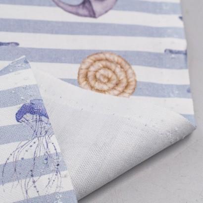 Tela de algodón estampado marinero reves