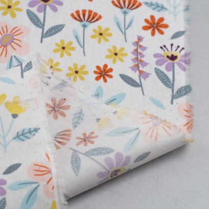Tela de algodón flores variadas reves