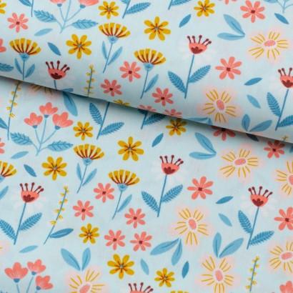 Tela de algodón flores variadas lomo