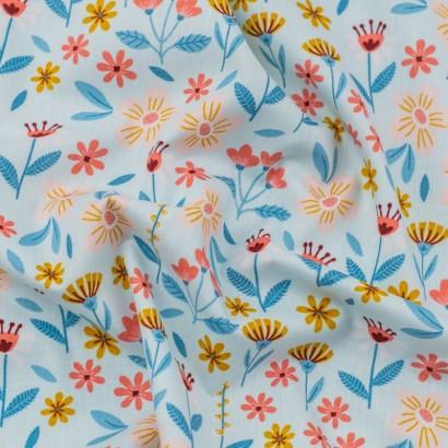 Tela de algodón flores variadas arrugada