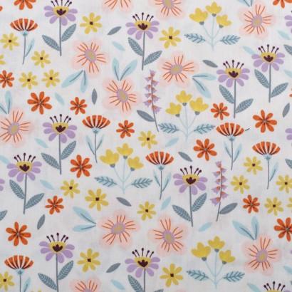 Tela de algodón flores variadas lisa