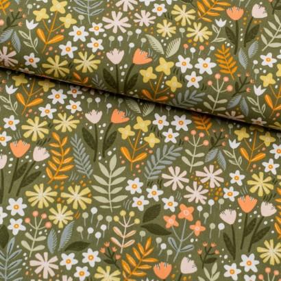 Tela de algodón flores jardín lomo