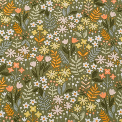 Tela de algodón flores jardín lisa