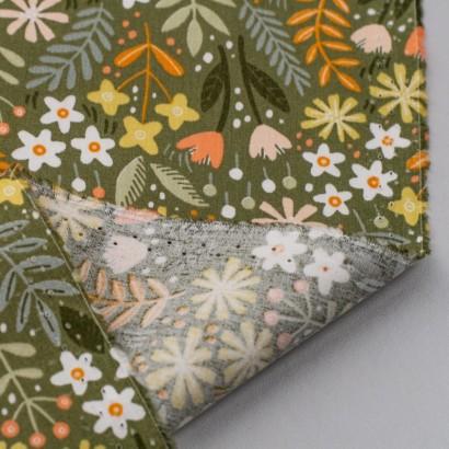 Tela de algodón flores jardín revés