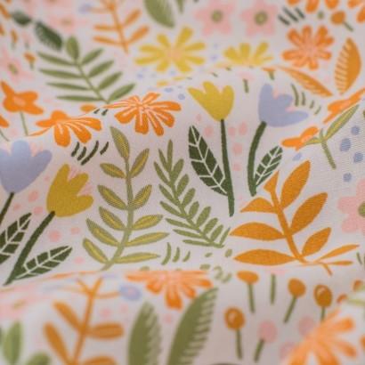 Tela de algodón flores jardín detalle
