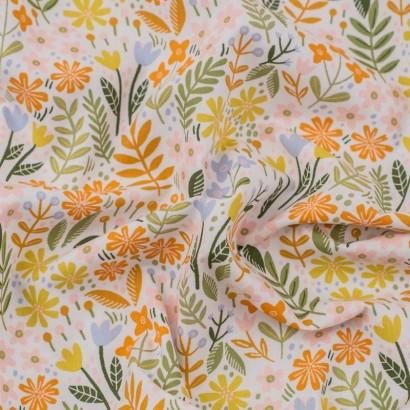Tela de algodón flores jardín arrugada