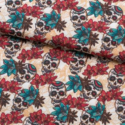 Tela de algodón calaveras y flores lomo