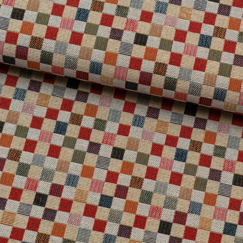 Tela de tapiceria Gobelino cuadros colores lomo