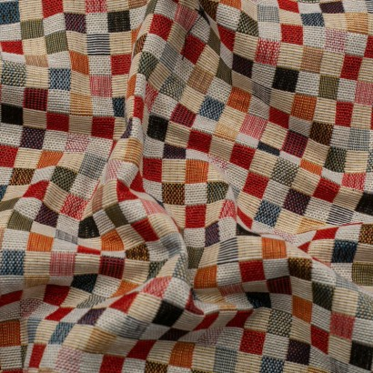 Tela de tapiceria Gobelino cuadros colores arrugada