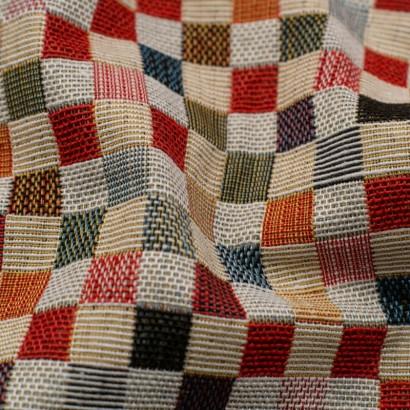 Tela de tapiceria Gobelino cuadros colores detalle